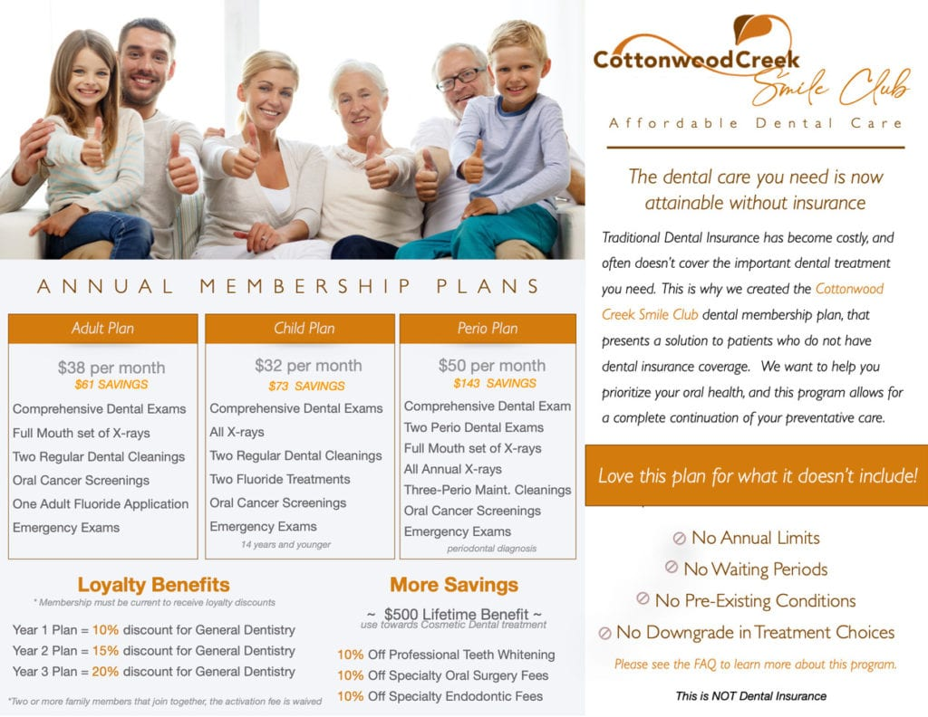cottonwood creek smile club information graphic